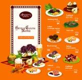 Tysk kokkonstdisk och drinkar, vektormeny royaltyfri illustrationer