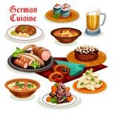 Tysk kokkonstmatställe med öl- och korvsymbolen vektor illustrationer