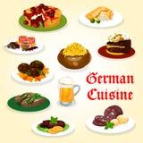 Tysk kokkonstmatställe med korv- och ölsymbolen royaltyfri illustrationer