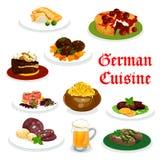Tysk kokkonstmatställesymbol med traditionell mat vektor illustrationer