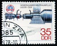 Tysk kosmonautnolla Lilienthal flyg av den gemensamma besättningen USSR - DDR i utrymme, serie, circa 1978 Royaltyfri Bild