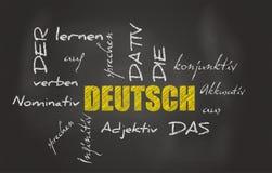 Tysk lärande svart tavla Arkivbilder