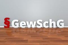 Tysk lagGewSchG förkortning för lag på borgerligt skydd mot handlingar av den våld- och för framtvinganden 3d illustrationen royaltyfri illustrationer