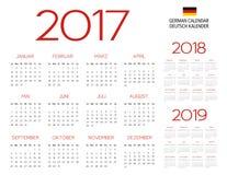 Tysk mall för kalender 2017-2018-2019 Arkivbild