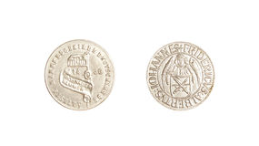Tysk silver för mynttappning 1436 isolerade iohannesfridericus Royaltyfri Foto
