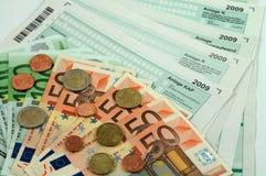 tysk skatt för 2009 datalistor Arkivbilder