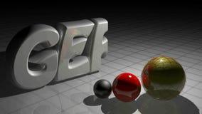 TYSK skriver att växa nära tre kulöra sfärer - video för tolkning 3D stock illustrationer