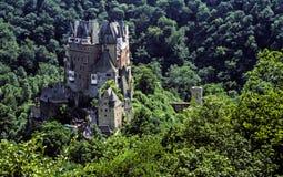 Tysk slott som omges av skogen av träd Arkivbild