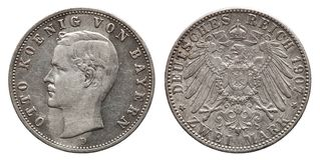 Tysk tappning 1907 för konung Otto för silvermynt för väldeBayern 2 fläck royaltyfri fotografi