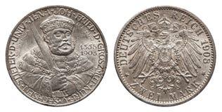 Tysk välde Sachsen 2 Mark Silver Coin University av Jena Year 1908 arkivfoton