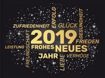 2019 tyska hälsa kort - lyckligt nytt år - royaltyfri illustrationer