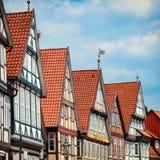 Tyska historiska timmer-ram hus av Celle, lägre Sachsen Arkivfoto