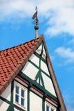 Tyska historiska timmer-ram hus av Celle, lägre Sachsen Royaltyfria Foton