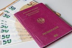 Tyska internationella resande pass- och europengar Fotografering för Bildbyråer