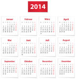 2014 tyska kalender Royaltyfri Bild