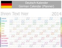 2014 tyska kalender Planner-2 med horisontalmånader Arkivfoto