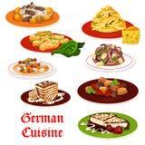 Tyska kokkonstkötträtter och efterrätter stock illustrationer