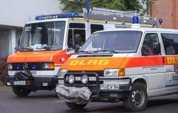 Tyska livräddareAssociation för DLRG tyska lastbilar Royaltyfria Bilder