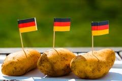 Tyska potatisar, med den tyska flaggan Royaltyfri Bild