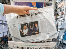 Tyska pressreaktioner till franska lagstiftnings- val 2017 Fotografering för Bildbyråer