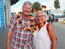 Tyska tennisfans för kvinnors finalmatch på australiern öppnar 2016 Arkivbilder