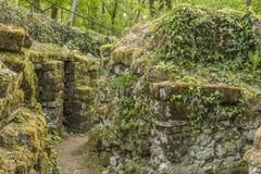 Tyska trenchs fördärvar Vauquois Frankrike Royaltyfri Fotografi