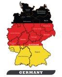 Tysklandöversikt och Tysklandflagga vektor illustrationer
