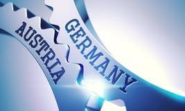 Tyskland Österrike - text på mekanism av metallkuggekugghjul 3d Royaltyfri Foto