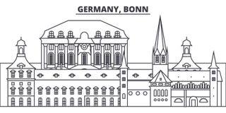 Tyskland Bonn linje horisontvektorillustration Tyskland Bonn linjär cityscape med berömda gränsmärken, stad siktar Fotografering för Bildbyråer