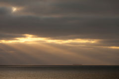 Tyskland lägre Sachsen, Nordsjön, aftonlynne Royaltyfria Foton