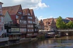 Tyskland Lueneburg, flod Ilmenau, Stintmarket arkivbild