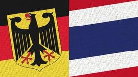 Tyskland och Thailand flagga - tygtextur stock illustrationer