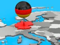 Tyskland som klämmas fast till översikten av Europa Arkivbild