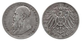 Tyskland tyska Sachsen Meiningen försilvrar fläck två 1902 för mynt 2 royaltyfri bild