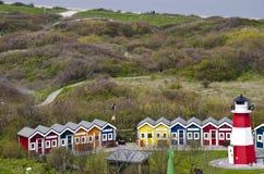 Tyskland - Helgoland - semesterort av stugor arkivbild