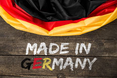 Tysklandflagga med text som göras i Tyskland Royaltyfria Foton