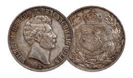 Tysklandtyskminted silvermynt 2 den dubbla thaleren Brunswick och Lueneburg f?r tv? thaler 1856 arkivfoton
