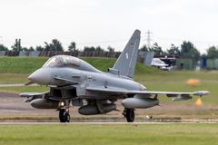 Tyskt flygplan för jaktflygplan för flygvapenLuftwaffe Eurofighter EF-2000 tyfon Arkivbild