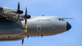 Tyskt flygplan för transport för flygvapenflygbuss A400M arkivfoton