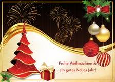 Tyskt hälsningkort för jul och nytt år Arkivbilder