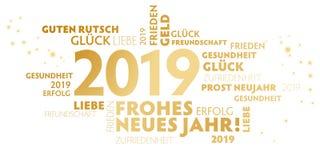 Tyskt Jahr för slogan'frohesneues 'lyckligt nytt år på vit bakgrund royaltyfri illustrationer