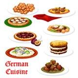 Tyskt kokkonstkött och att fiska disk vektor illustrationer
