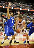 Men's CIS Basketball Finals. Tyson Hinz (centre) in action for the Carleton Ravens in their match against Lakehead Thunderwolves at Scotiabank Place, Ottawa on stock photos