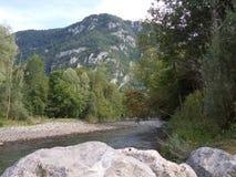 Tyst bergström i sommar Arkivbild