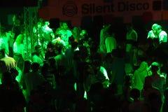 Tyst disko på utgångsfestival Royaltyfria Foton