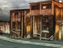 Tyst gata med byggnader Arkivbild