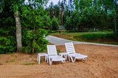 Tyst läge på den sandiga stranden mellan träden med två vardagsrumstolar, kan du fly och koppla av Arkivfoto