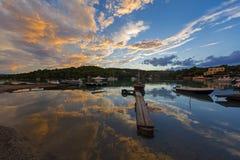 Tyst liten vik på Porto-Heli, Peloponnese - Grekland Arkivbilder