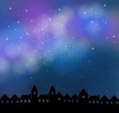 Tyst natt med härlig stardusthimmel Royaltyfri Bild