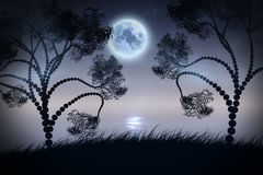 Tyst natt på floden Arkivbilder